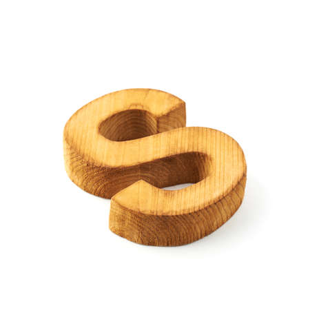 child s block: Single capital block wooden letter S isolated over the white background Stock Photo