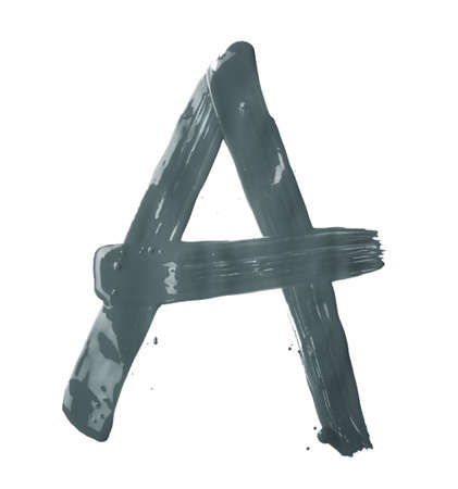 Letter A character hand drawn with the oil paint brush strokes, isolated over the white background photo