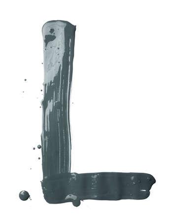 l petrol: Letra L car�cter dibujado a mano con los trazos de pincel de pintura de aceite, aislado sobre el fondo blanco Foto de archivo
