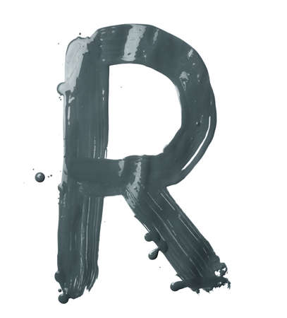 Letter R character hand drawn with the oil paint brush strokes, isolated over the white background photo