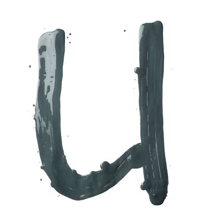 Letter U character hand drawn with the oil paint brush strokes, isolated over the white background photo