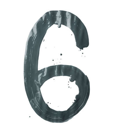 Number six digit character hand drawn with the oil paint brush strokes isolated over the white background photo