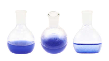 erlenmeyer: Erlenmeyer flask filled with the blue colored liquid isolated over the white background, set of three foreshortenings