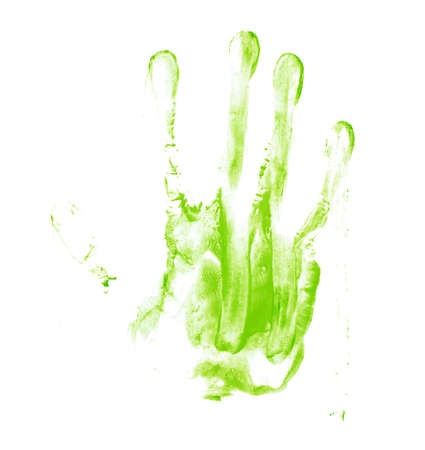smeared hand: Handmade hand palm smeared oil paint print isolated over the white background Stock Photo