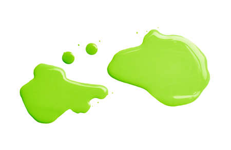 The puddle of an oil paint spill isolated over the white background, top view above photo