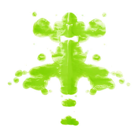 Symmetric abstract paint blot as in a Rorschach test isolated over the white background Stock Photo