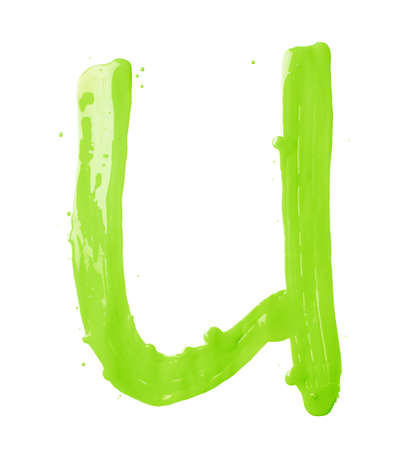 kelly: Letter U character hand drawn with the oil paint brush strokes, isolated over the white background Stock Photo