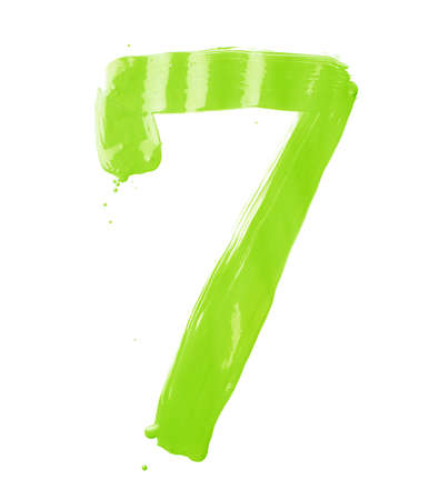kelly: Number seven digit character hand drawn with the oil paint brush strokes isolated over the white background Stock Photo