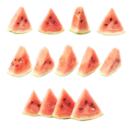 triangle shaped: Multiple compositions made of triangle shaped watermelon slice pieces, isolated over the white background