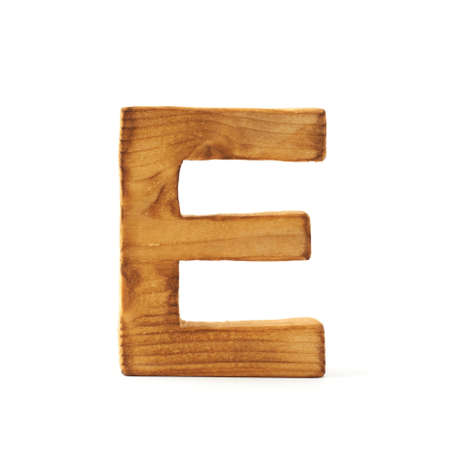 e marketing: Single capital block wooden letter E isolated over the white background