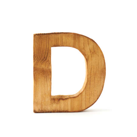 wooden block letter: Single capital block wooden letter D isolated over the white background Stock Photo