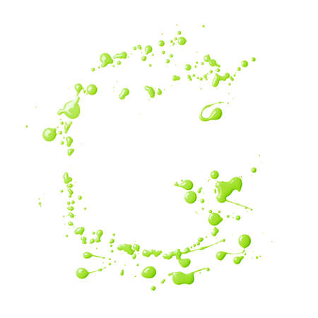 g spot: Letter G character made with the oil paint drops and spills, isolated over the white background