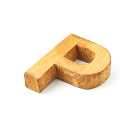 Single capital block wooden letter P isolated over the white background photo