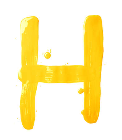 Letter H character hand drawn with the oil paint brush strokes, isolated over the white background photo