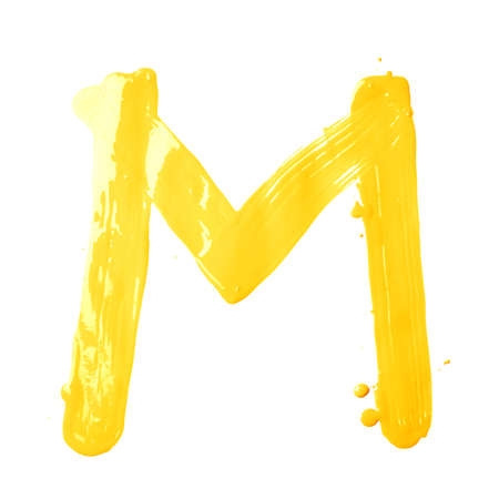 Letter M character hand drawn with the oil paint brush strokes, isolated over the white background photo