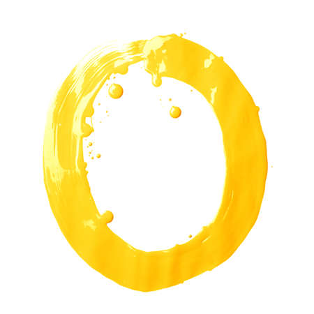 Letter O character hand drawn with the oil paint brush strokes, isolated over the white background photo