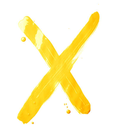 Letter X character hand drawn with the oil paint brush strokes, isolated over the white background photo