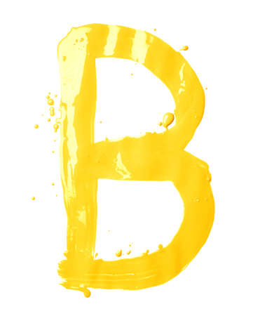 Letter B character hand drawn with the oil paint brush strokes, isolated over the white background photo