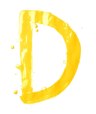 Letter D character hand drawn with the oil paint brush strokes, isolated over the white background photo