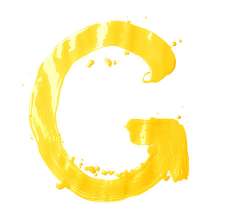 Letter G character hand drawn with the oil paint brush strokes, isolated over the white background photo