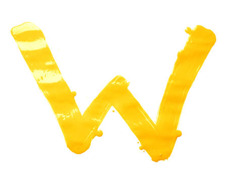 Letter W character hand drawn with the oil paint brush strokes, isolated over the white background photo