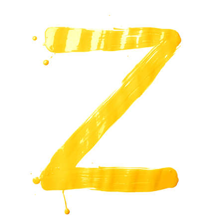 Letter Z character hand drawn with the oil paint brush strokes, isolated over the white background photo