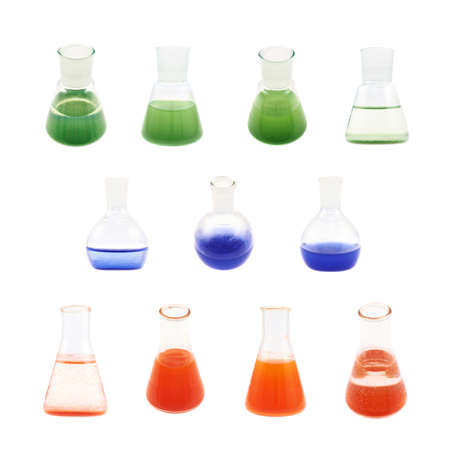 erlenmeyer: Erlenmeyer flask filled with the red, blue and green colored liquid isolated over the white background, set of multiple foreshortenings Stock Photo