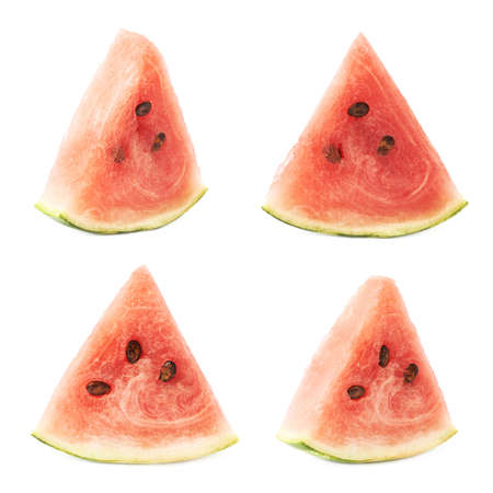 triangle shaped: Triangle shaped watermelon slice piece, isolated over the white background, set of four foreshortenings