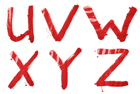 v shape: U, V, W, X, Y, Z letter character set of a hand drawn with the oil paint brush strokes, isolated over the white background