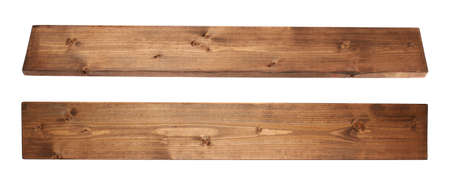 Brown paint coated pine wood board plank isolated over the white background, set of two foreshortenigns