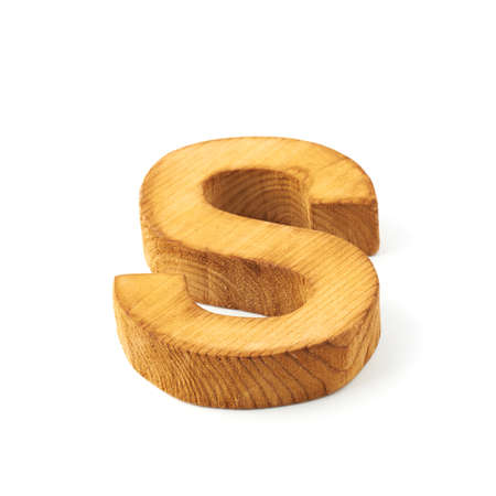 Single capital block wooden letter S isolated over the white background Stock Photo