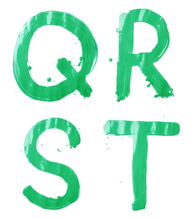 Q, R, S, T letter character set of a hand drawn with the oil paint brush strokes, isolated over the white background photo