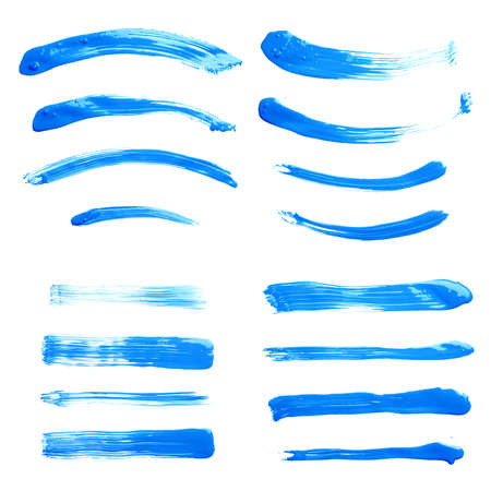 Set of multiple straight and curved oil paint handmade brush strokes isolated over the white  Standard-Bild