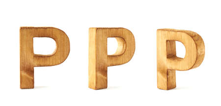 Set of three block wooden capital P letters in different foreshortenings isolated over the white background photo