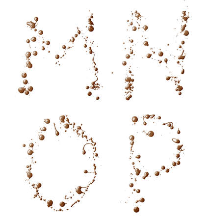 M, N, O, P letter set made with the drops and spills of the oil paint, isolated over the white background photo