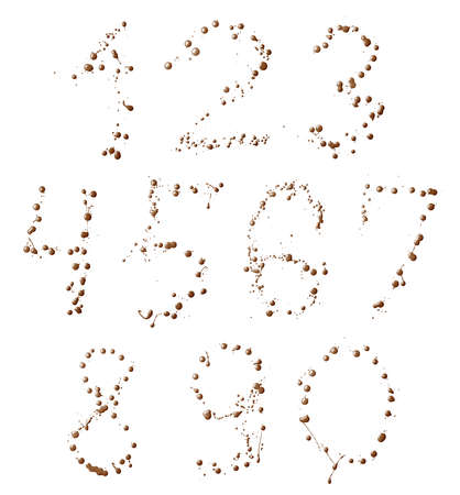 Set of ten number digit characters made with the oil paint spills isolated over the white background photo