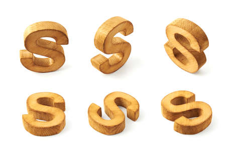 child s block: Set of six block wooden capital S letters in different foreshortenings isolated over the white background Stock Photo