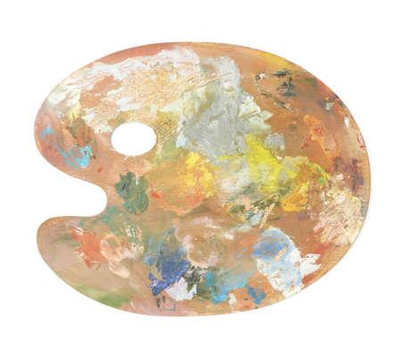 Houten palet bedekt met verf, geïsoleerd op de witte achtergrond Stockfoto
