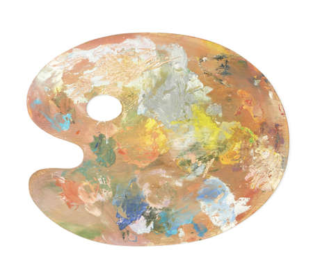 palitra: Wooden palette covered with paint, isolated over the white background