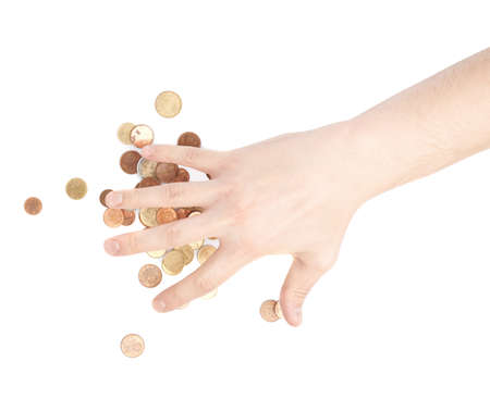 corporate greed: Hand covering over the pile of coins, composition isolated over the white background