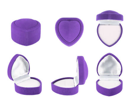 Violet, heart shaped velvet box for the ring, isolated over the white background, set of six foreshortenings photo