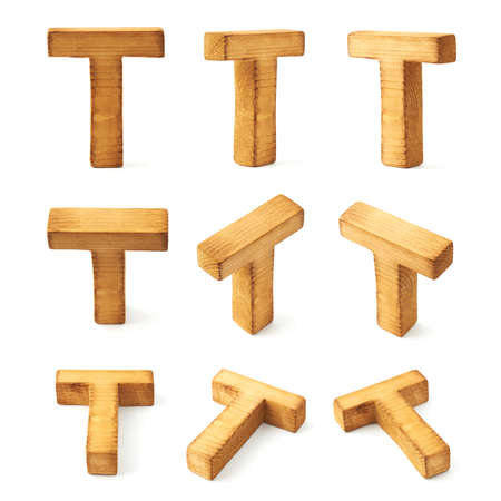 writing letter: Set of nine block wooden capital T letters in different foreshortenings isolated over the white background