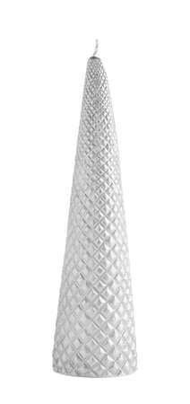 cone shaped: Cone shaped silver candle isolated over the white background