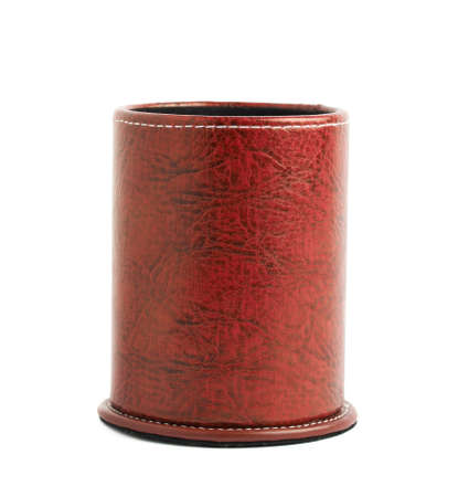 pen holder: Red leather pen holder cylinder box isolated over the white background