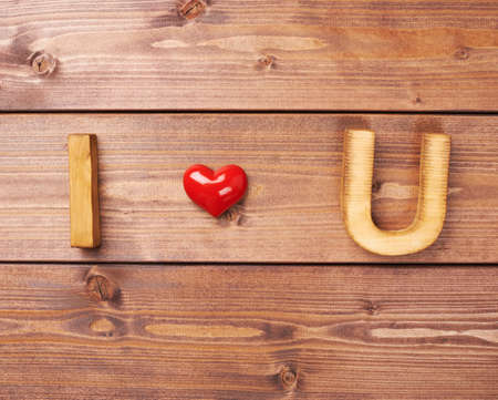 i love u: I love you written as I, Heart, U over the wooden background, Valentines day composition