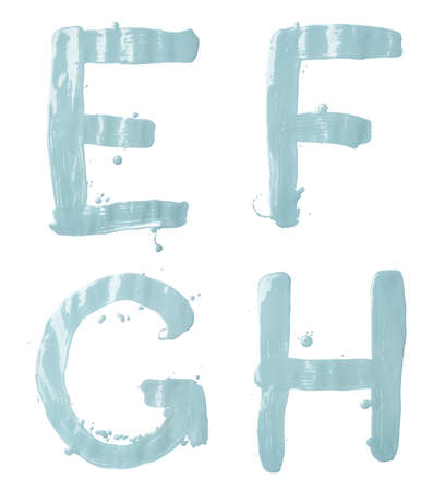 e ink: E, F, G, H letter character set of a hand drawn with the oil paint brush strokes, isolated over the white background