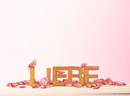 Liebe: Word Liebe meaning Love in German language as a composition of wooden block letters covered with the dried flower potpourri leaves against the pink background