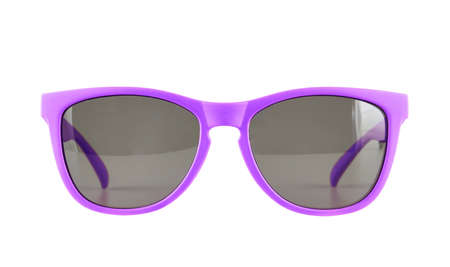 Violet sun glasses isolated over the white background photo