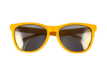 sun protection: Yellow sun glasses isolated over the white background