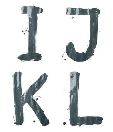 l petrol: I, J, K, L carta de juego de caracteres de un dibujado a mano con los trazos de pincel de pintura de aceite, aislado sobre el fondo blanco Foto de archivo